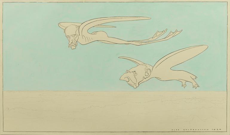 Gammel karikaturtegning som viser Nansen og Amundsen som fugler over pol-isen.