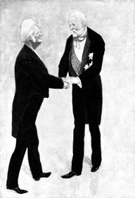 Kong Oscar II gratulerer Bjørnson med Nobelprisen.